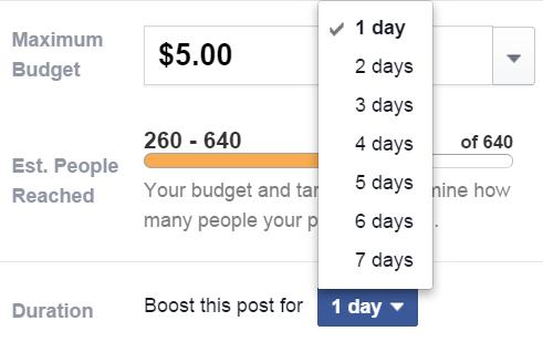 מספר ימים לקמפיין ממומן בפייסבוק